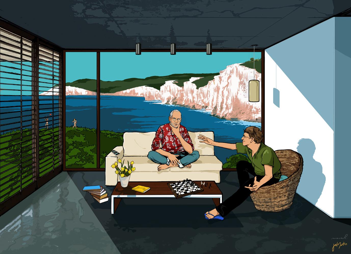 Steve Jobs e Bill Gates de férias em Palo Alto (pelo menos nas ilustrações de Stephane Manel)